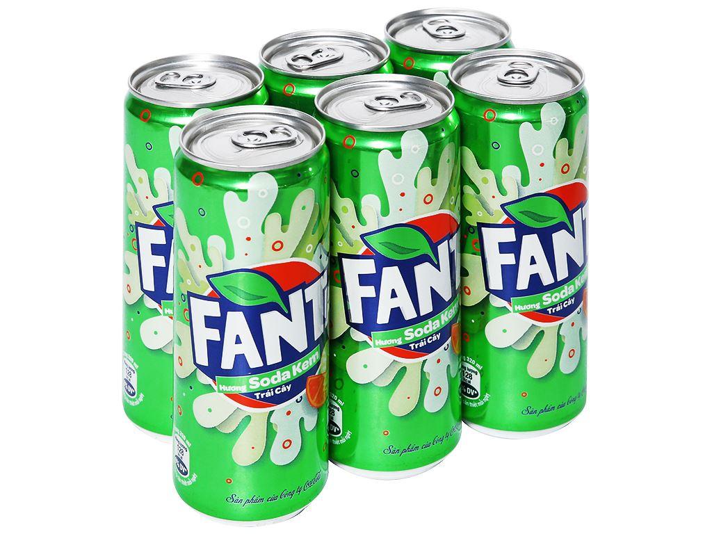 6 lon nước ngọt Fanta vị soda kem 330ml 1