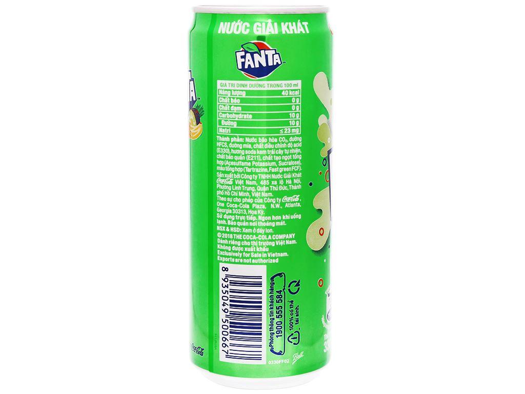 6 lon nước ngọt Fanta vị soda kem 330ml 3