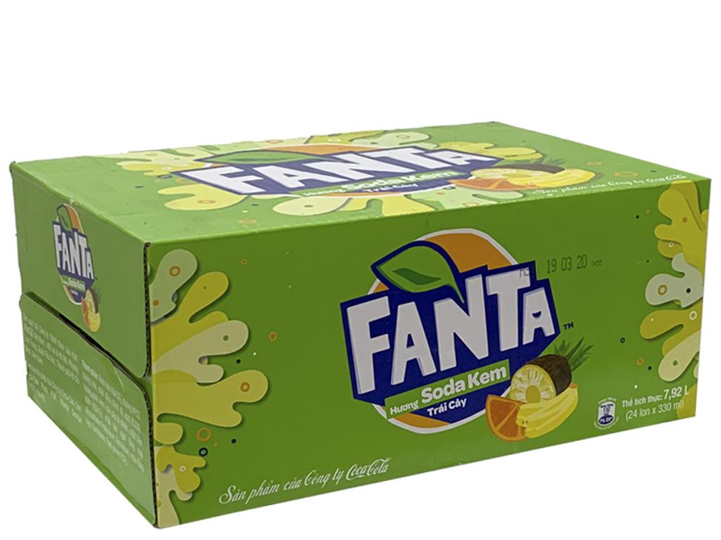 Thùng 24 lon nước ngọt Fanta vị soda kem 330ml 1