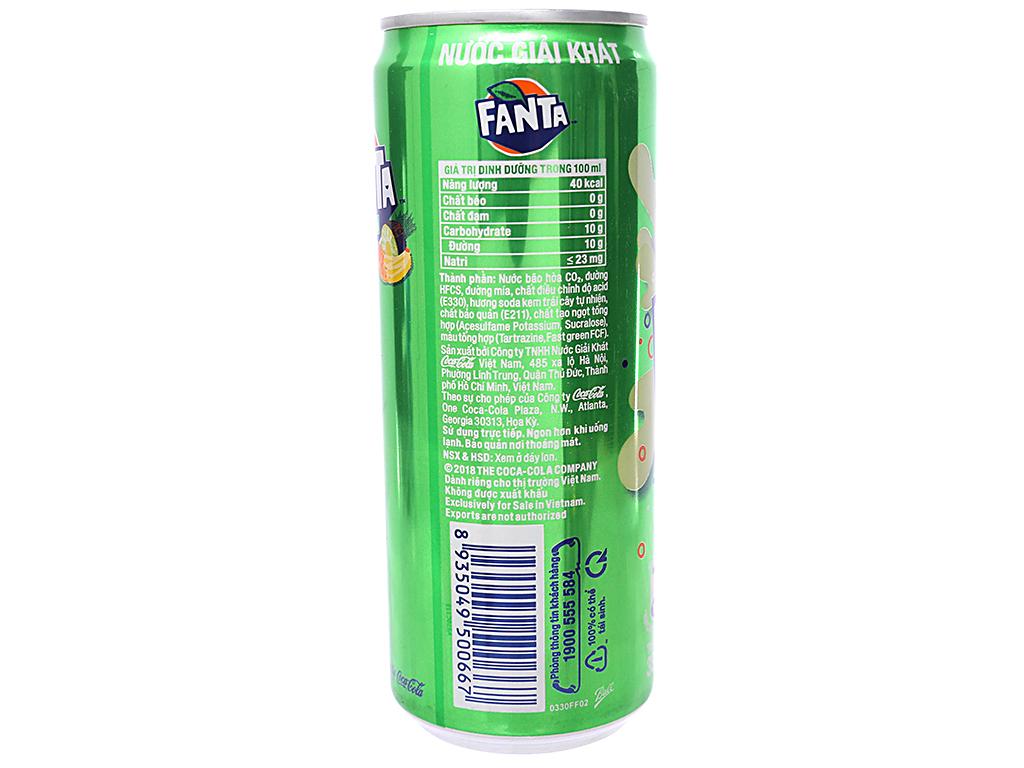 Thùng 24 lon nước ngọt Fanta vị soda kem 330ml 3