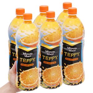 6 chai nước cam có tép Teppy 1 lít