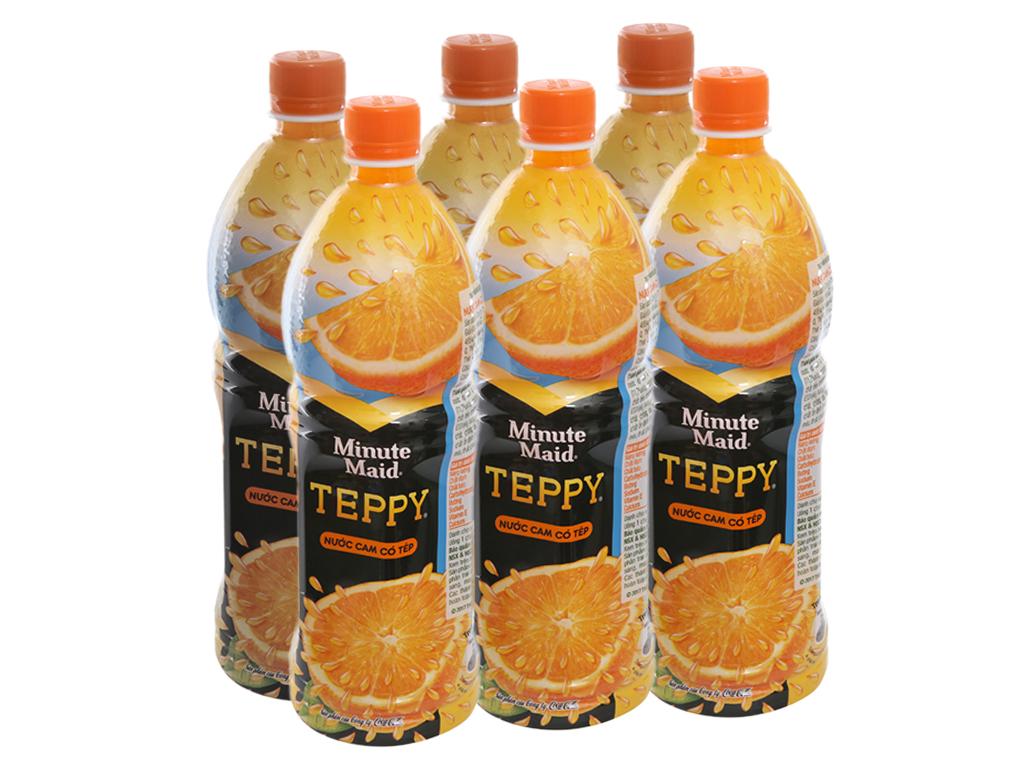 6 chai nước cam có tép Teppy 1 lít 1