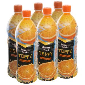 Lốc 6 chai nước cam có tép Teppy 1 lít