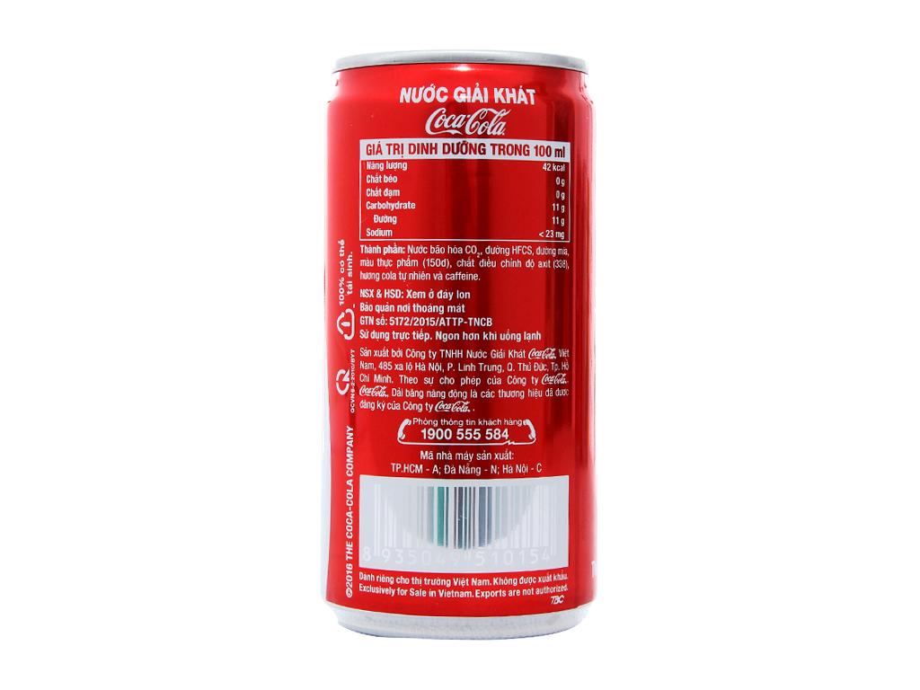 Thùng 24 lon nước ngọt Coca Cola 250ml 3