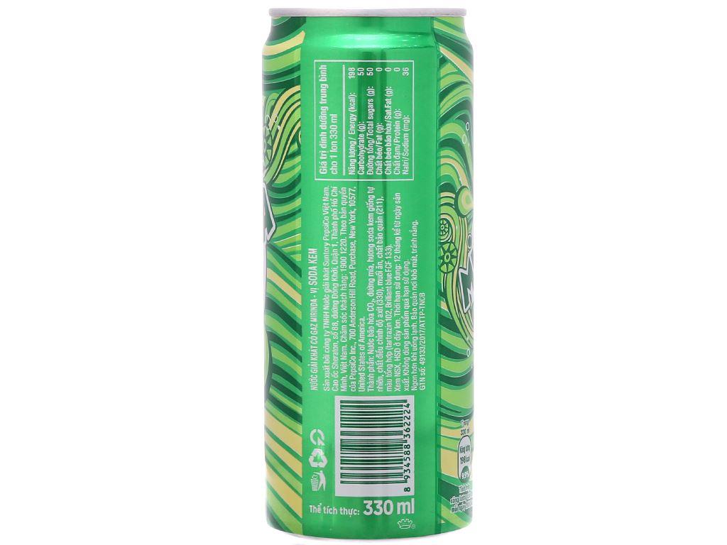 Thùng 24 lon nước ngọt Mirinda vị soda kem 330ml 3