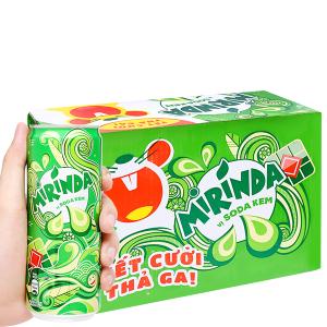 Thùng 24 lon nước ngọt Mirinda vị soda kem 330ml
