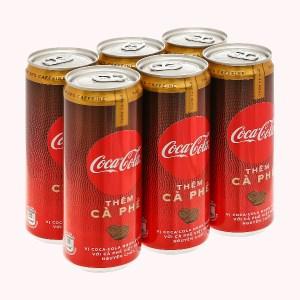 6 lon nước ngọt Coca Cola thêm cà phê 330ml