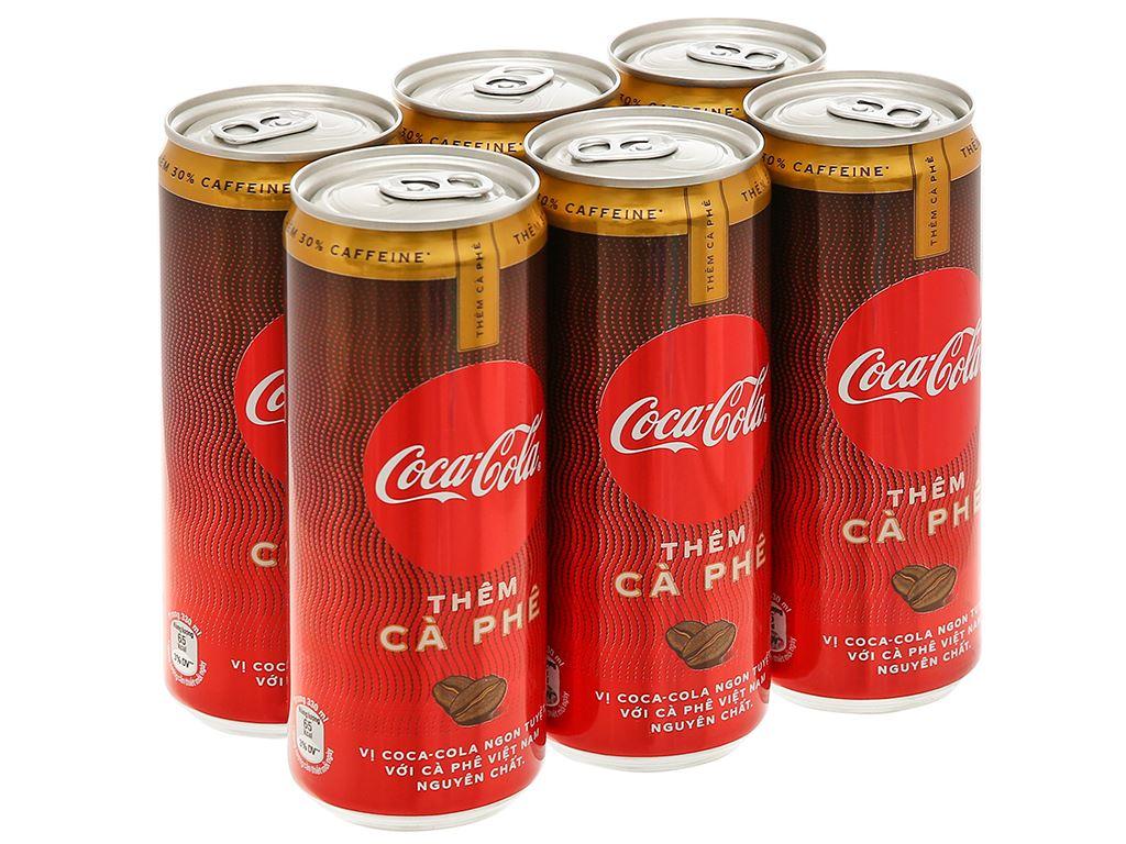 6 lon nước ngọt Coca Cola thêm cà phê 330ml 1