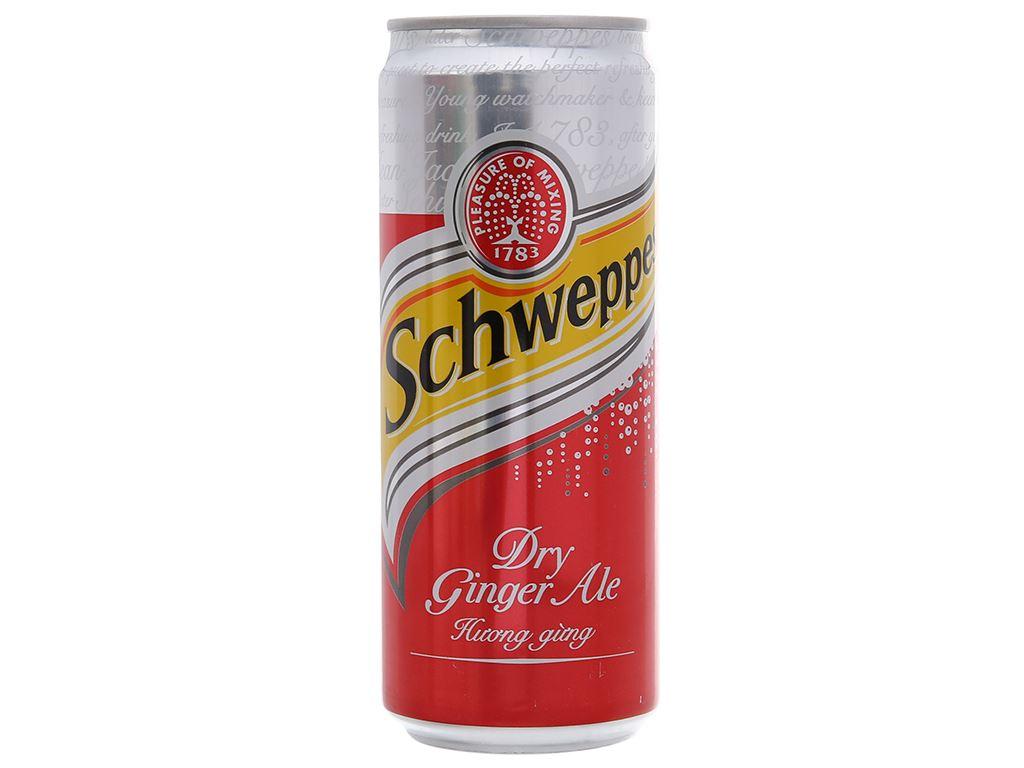 6 lon Schweppes Dry Ginger Ale hương gừng 330ml 3