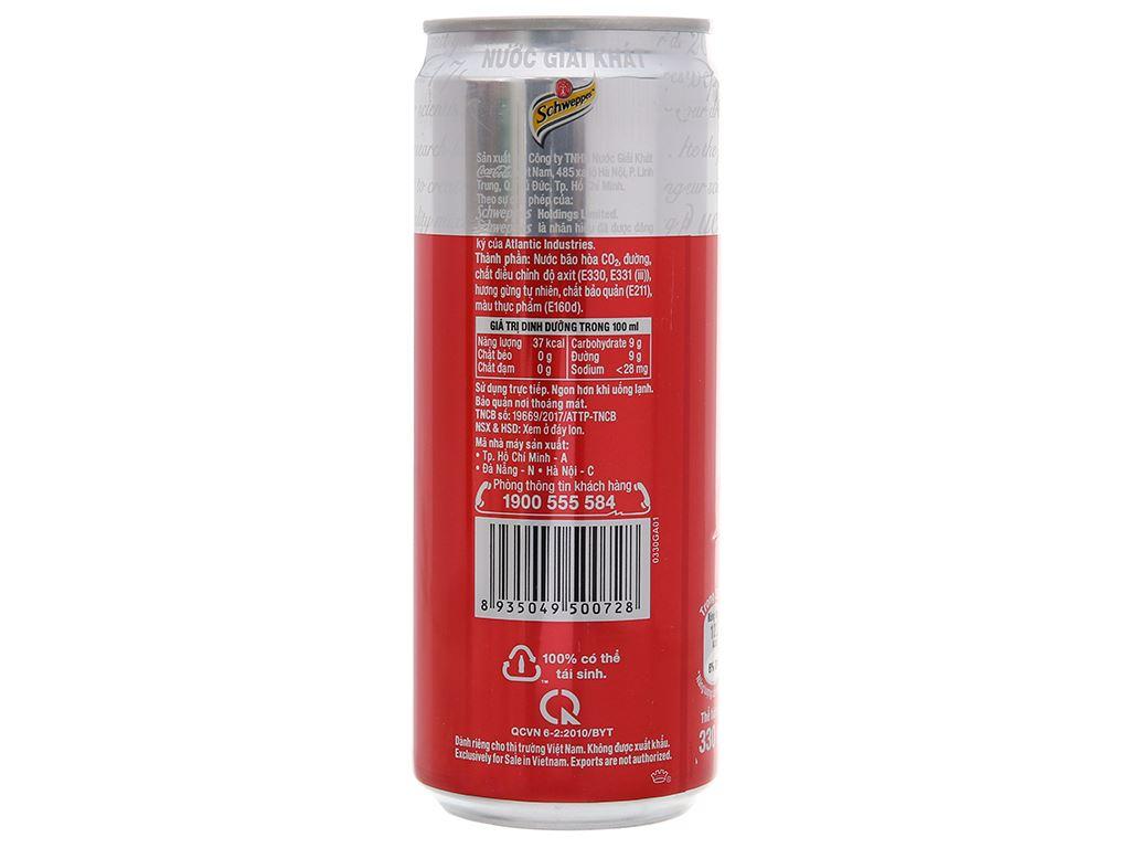 6 lon Schweppes Dry Ginger Ale hương gừng 330ml 4