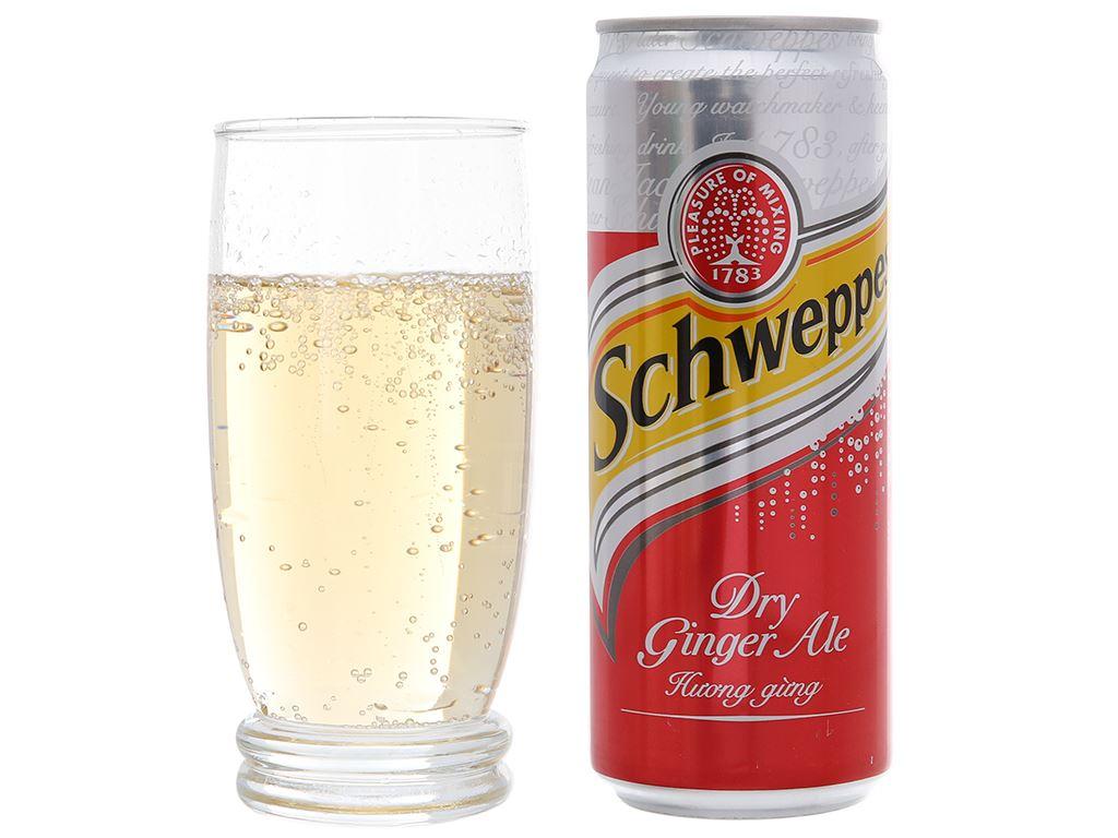 6 lon Schweppes Dry Ginger Ale hương gừng 330ml 5