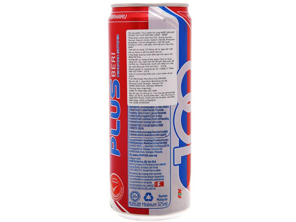 Thùng 24 lon nước ngọt 100Plus hương dâu 325ml 4