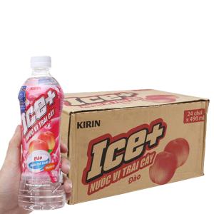 Thùng 24 chai nước trái cây Ice+ vị đào 490ml