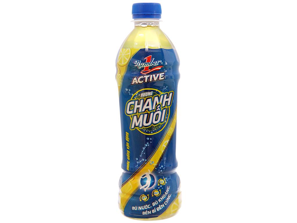 Thùng 24 chai nước uống vận động Number1 Active vị chanh muối 455ml 2