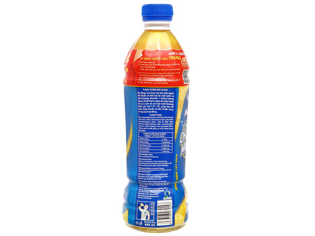 Thùng 24 chai nước uống vận động Number1 Active vị chanh muối 455ml 3