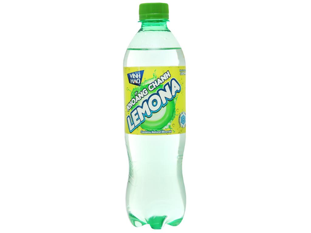 Thùng 24 chai nước khoáng có ga Vĩnh Hảo Lemona vị chanh 500ml 2