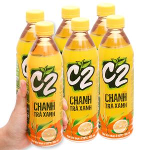 6 chai trà xanh C2 hương chanh 455ml