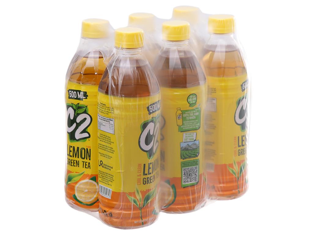 6 chai trà xanh C2 hương chanh 500ml 1