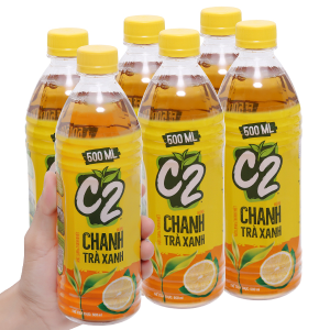 6 chai trà xanh C2 hương chanh 500ml