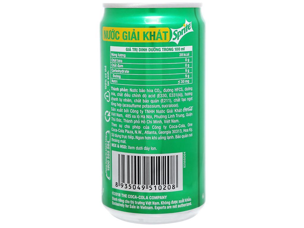 Thùng 24 lon nước ngọt Sprite hương chanh 250ml 7