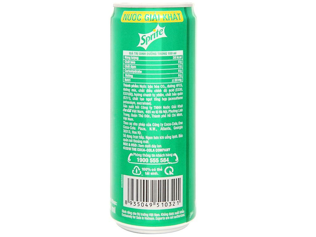 24 lon nước ngọt Sprite vị chanh 330ml 3