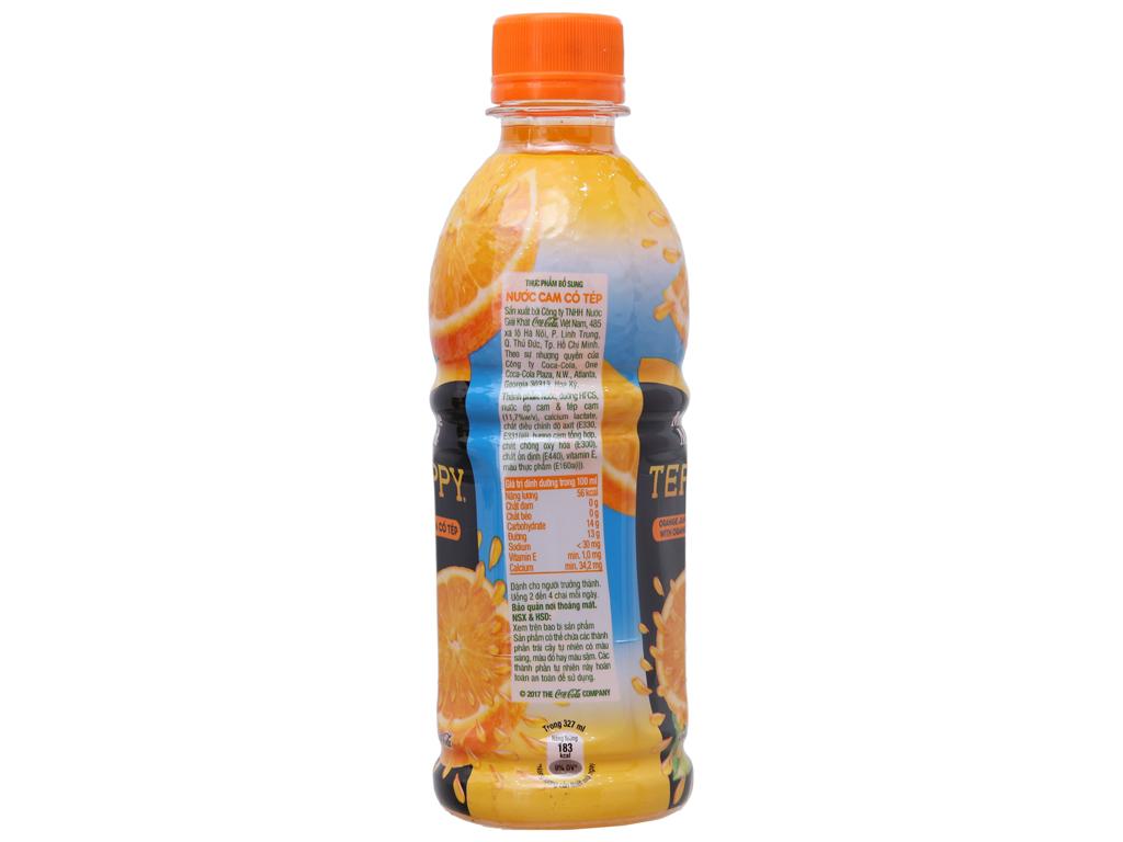 6 chai nước cam có tép Teppy 327ml 4