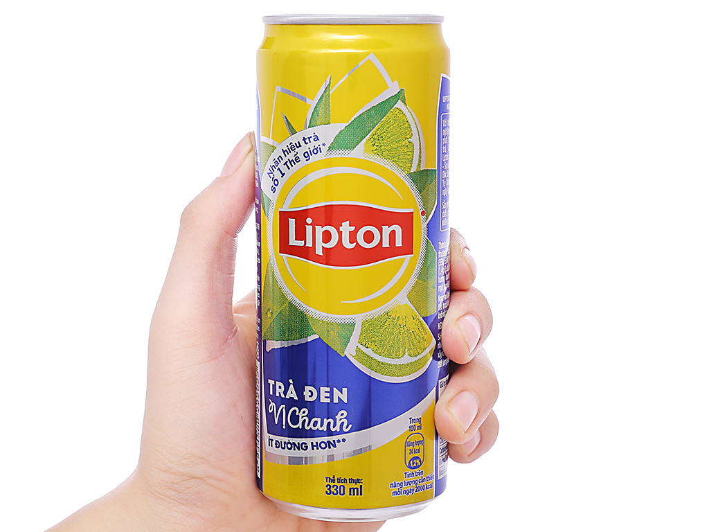 Thùng 24 lon trà đen Lipton vị chanh 330ml 4