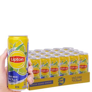 Thùng 24 lon trà đen Lipton vị chanh 330ml