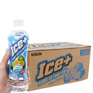 Thùng 24 chai nước trái cây Ice+ vị cam chanh 490ml