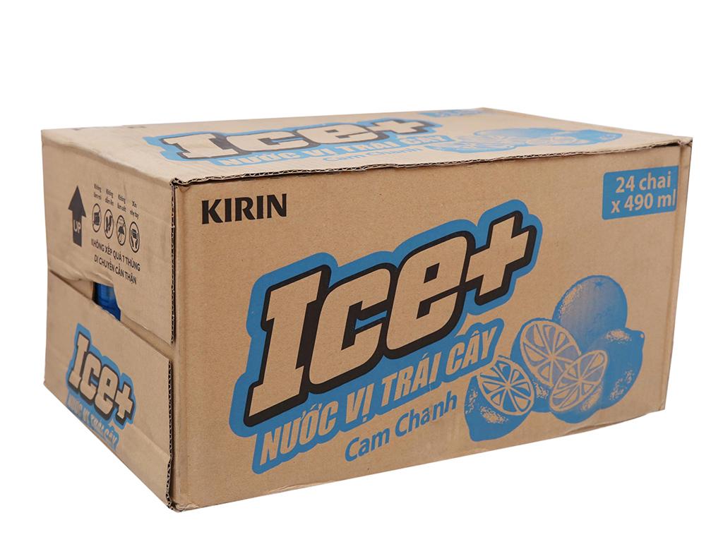 Thùng 24 chai nước trái cây Ice+ vị cam chanh 490ml 1