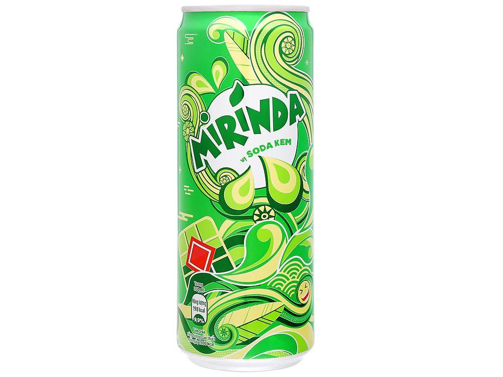 6 lon nước ngọt Mirinda vị soda kem 330ml 10