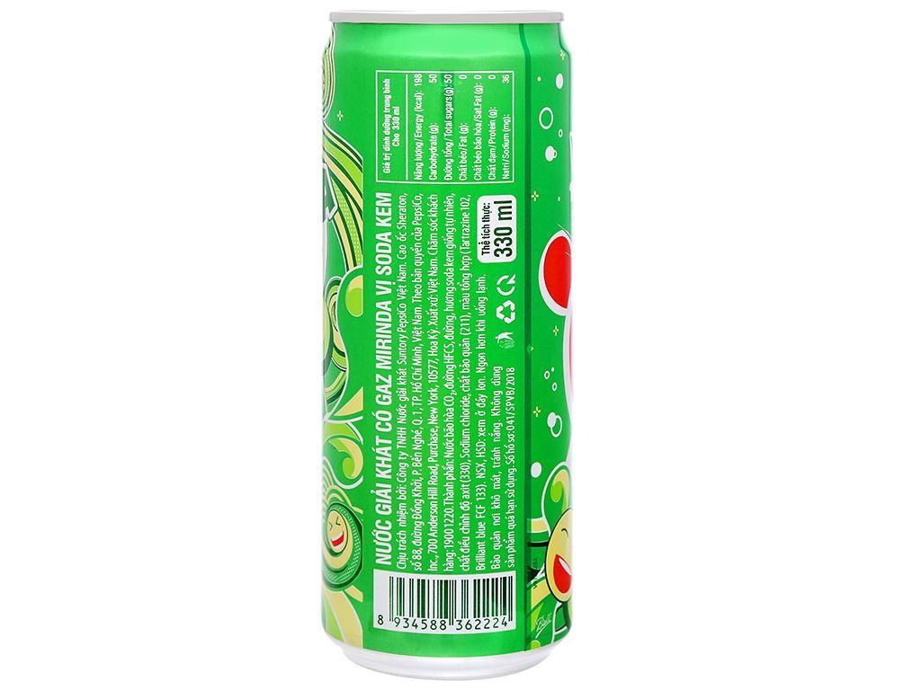 6 lon nước ngọt Mirinda vị soda kem 330ml 11