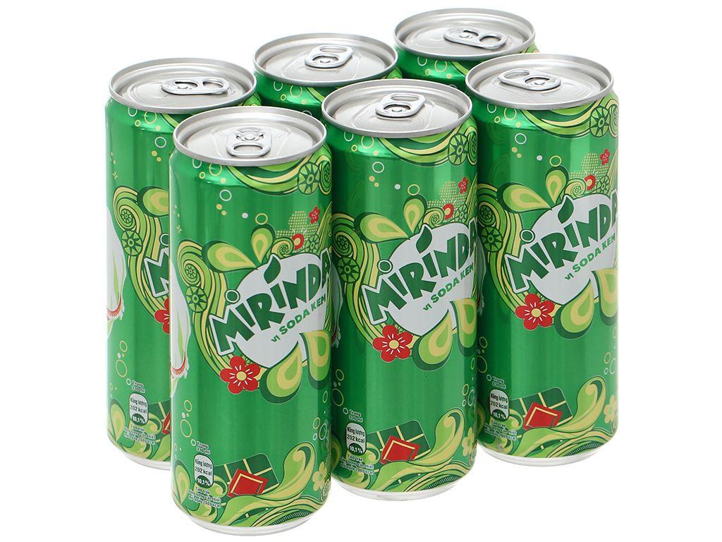 6 lon nước ngọt Mirinda vị soda kem 330ml 8