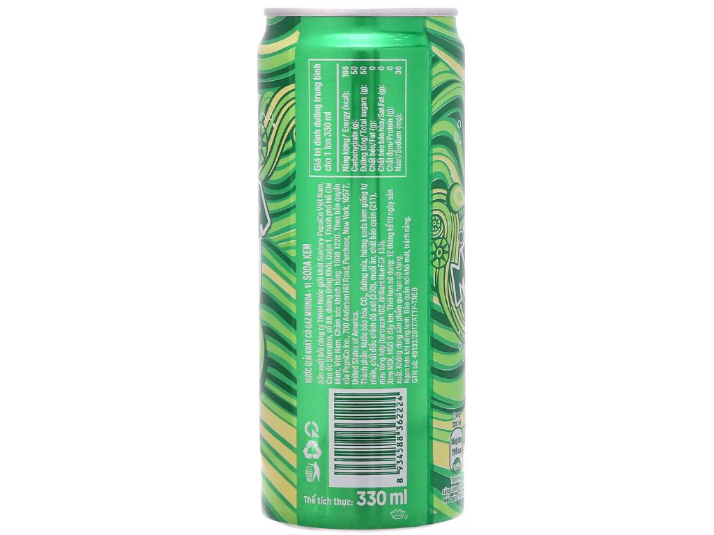 6 lon nước ngọt Mirinda vị soda kem 330ml 4