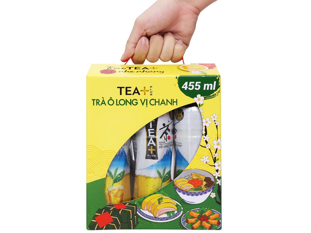 6 chai trà ô long Tea Plus vị chanh 455ml 9