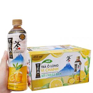 Thùng 24 chai trà ô long Tea Plus vị chanh 455ml