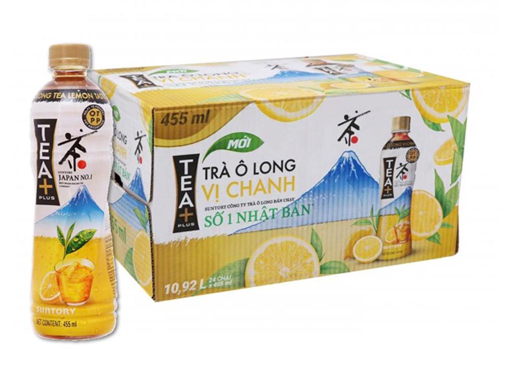 Thùng 24 chai trà ô long Tea Plus vị chanh 455ml 1
