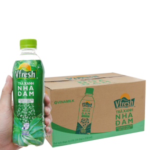 Thùng 24 chai trà xanh & nha đam Vfresh 350ml