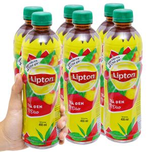 6 chai trà đen Lipton vị đào 455ml