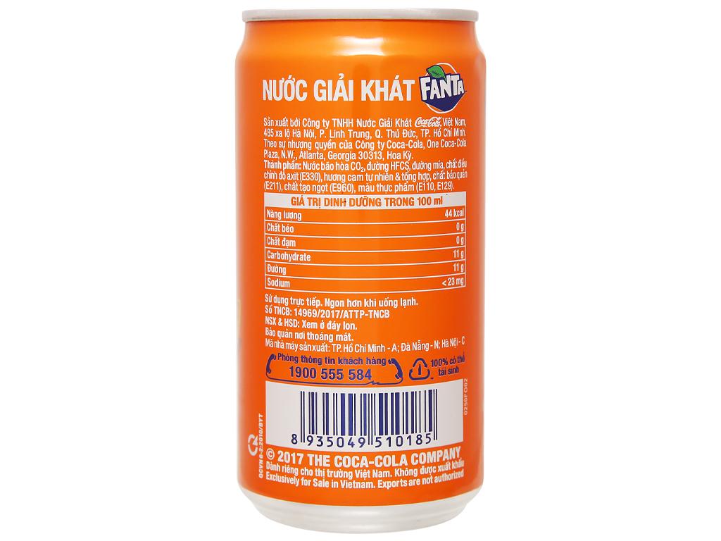 6 lon nước ngọt Fanta vị cam 250ml 3
