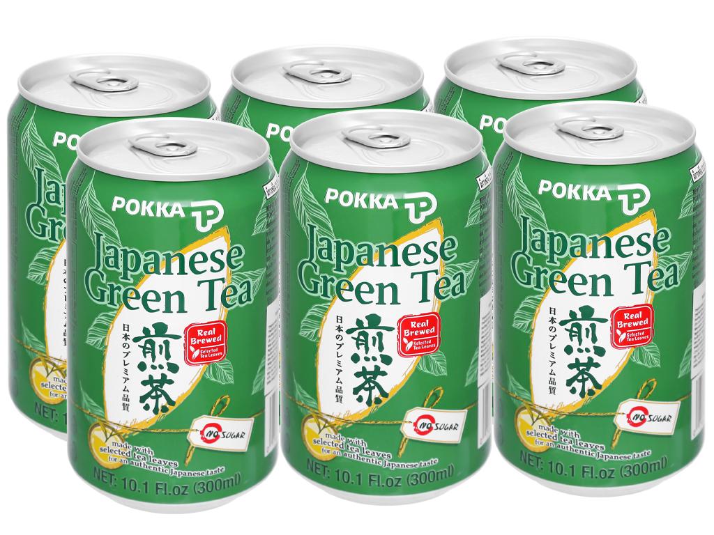 6 lon trà xanh Nhật Pokka 300ml 1