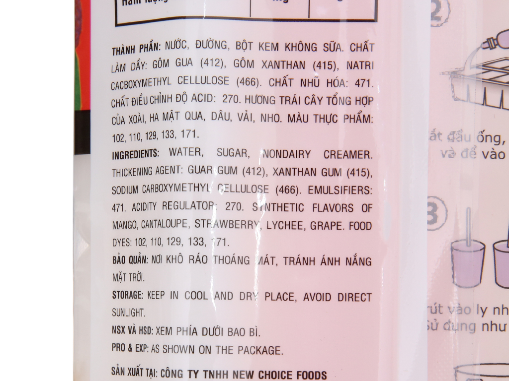 Gói 10 cây kem đá New Choice hương trái cây 450ml 3