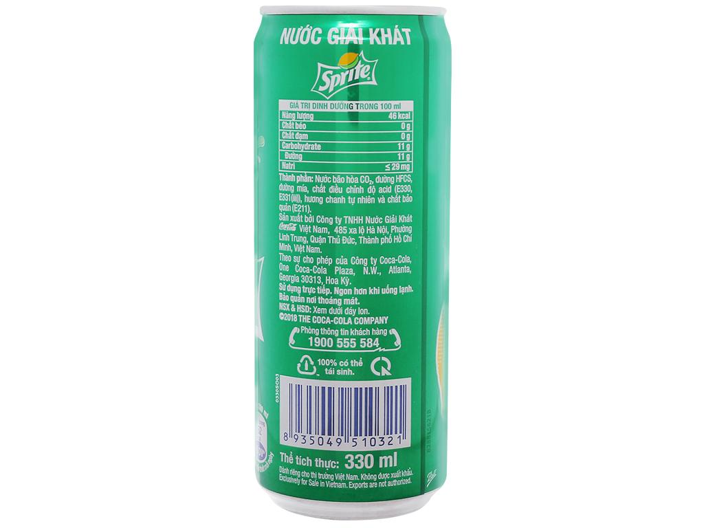 Thùng 12 lon nước ngọt Sprite hương chanh 330ml 3