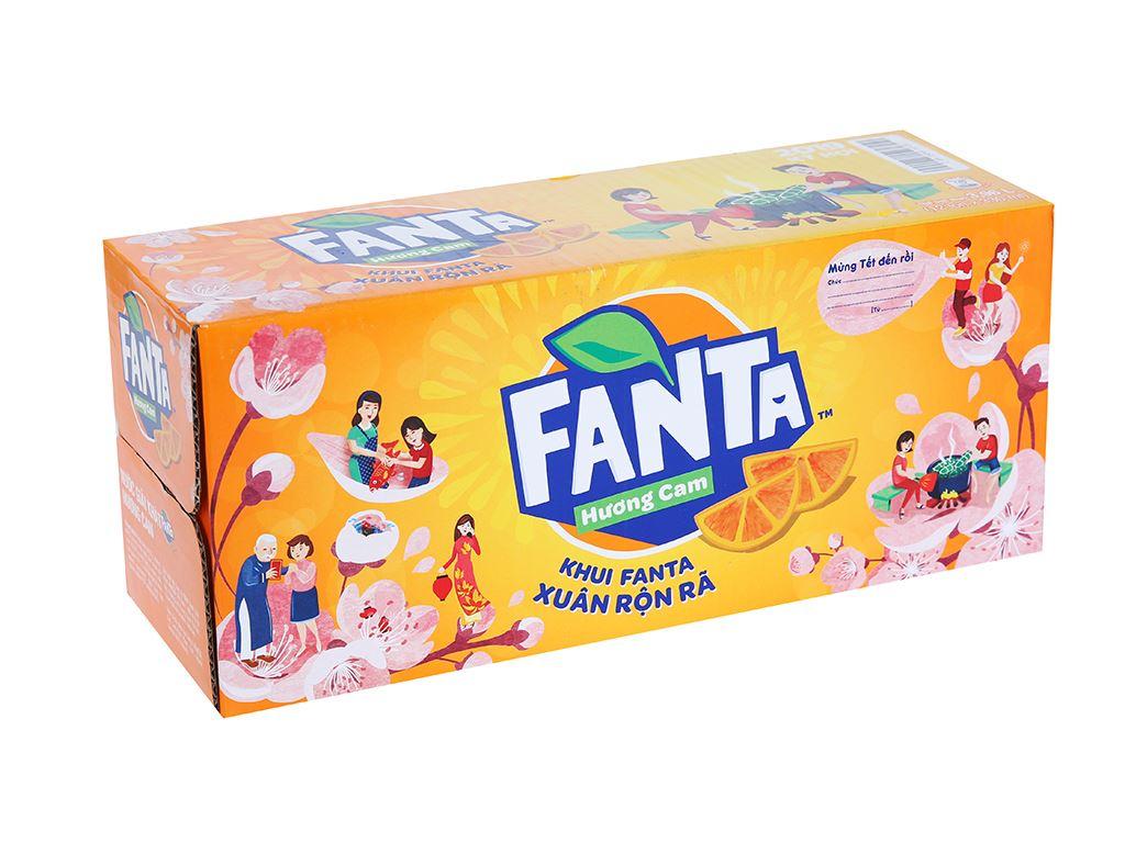 Thùng 12 lon nước ngọt Fanta vị cam 330ml 1