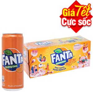 Thùng 12 lon nước ngọt Fanta Cam 330ml