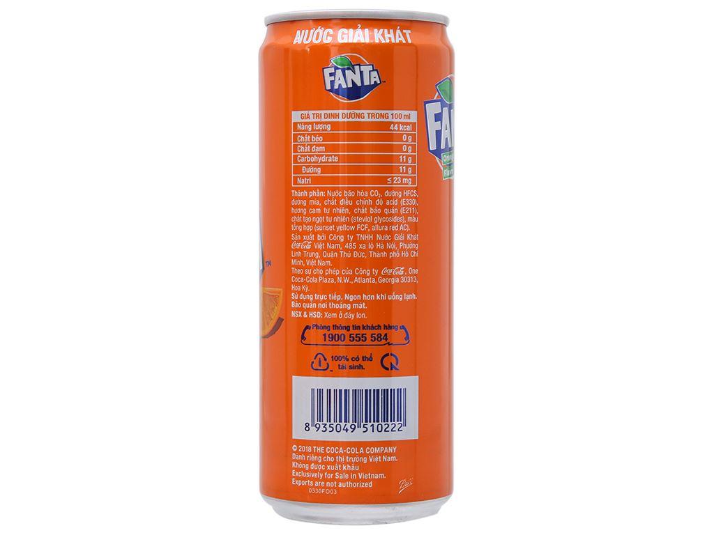 Thùng 12 lon nước ngọt Fanta vị cam 330ml 3