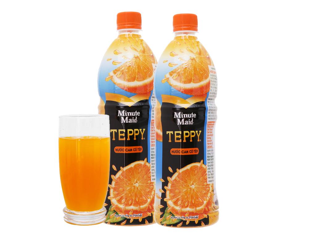 Combo 2 chai nước cam có tép Teppy 1 lít 2