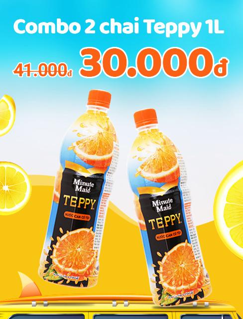 Combo 2 chai nước cam có tép Teppy 1 lít