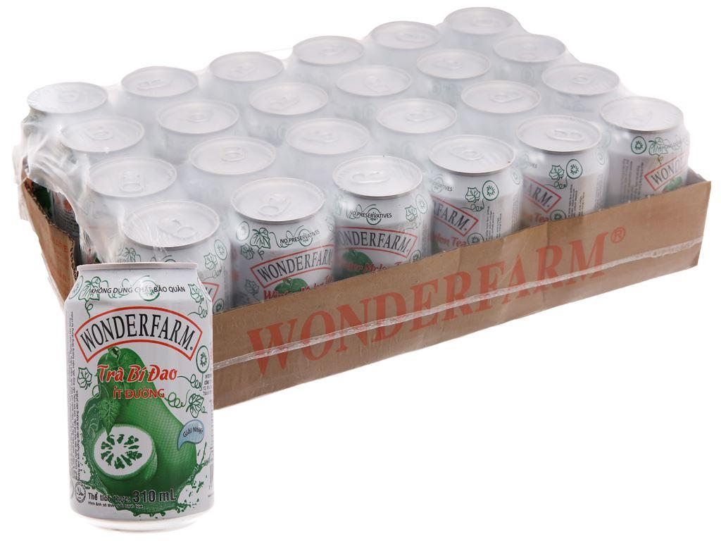 Thùng 24 lon trà bí đao Wonderfarm ít đường 310ml 1
