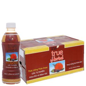 Thùng 24 chai TH True Herbal gấc, atiso đỏ và mâm xôi 345ml